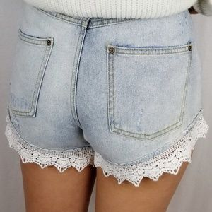 Free People Crochet Hem High Waist Shorts